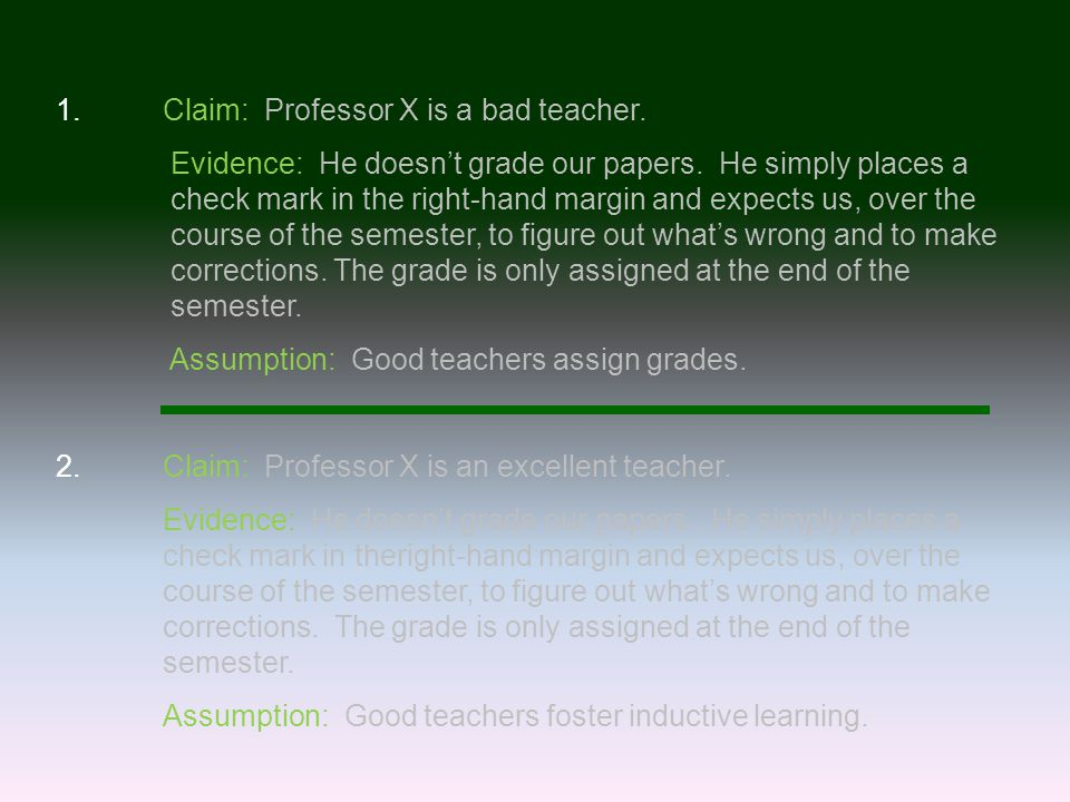 1.Claim: Professor X is a bad teacher. Evidence: He doesn't grade our papers.