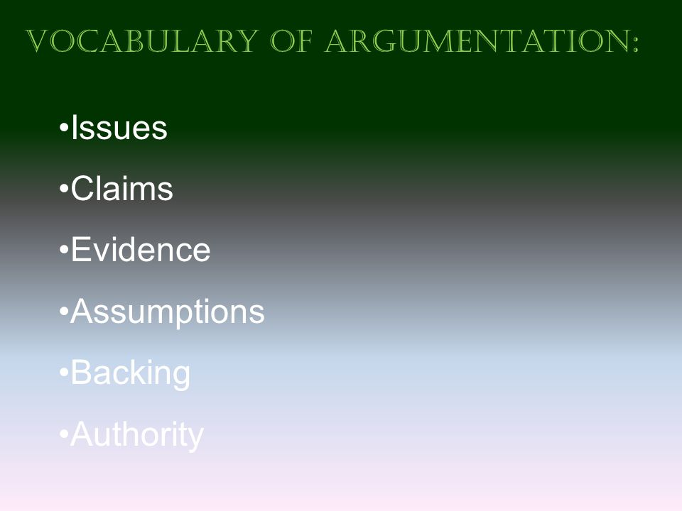 Vocabulary of Argumentation : Issues Claims Evidence Assumptions Backing Authority
