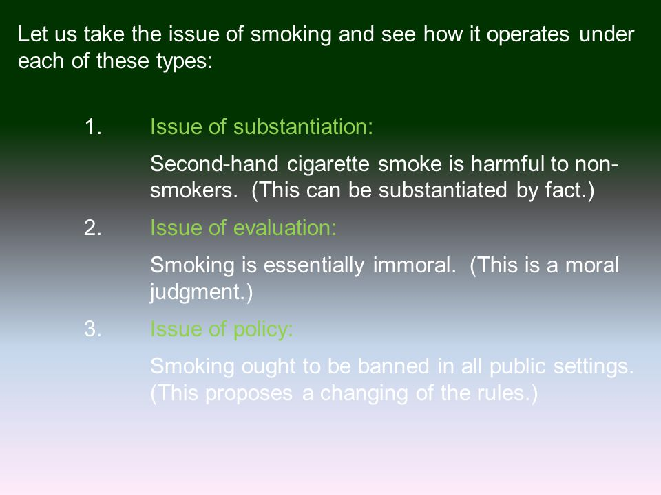 Let us take the issue of smoking and see how it operates under each of these types: 1.Issue of substantiation: Second-hand cigarette smoke is harmful to non- smokers.