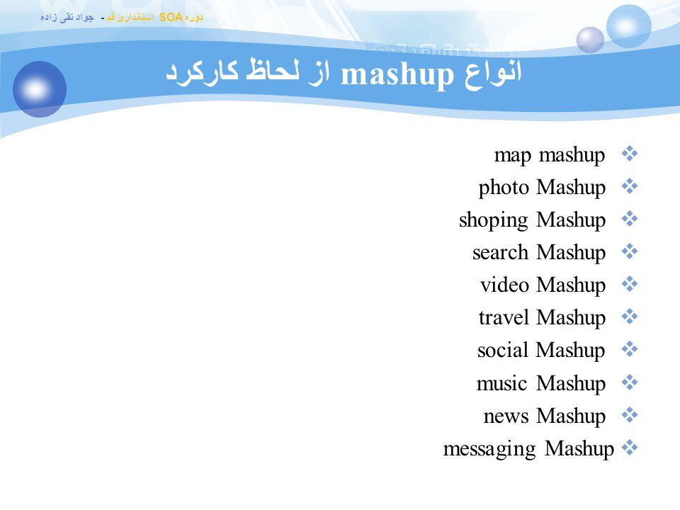 دوره SOA استانداری قم - جواد تقی زاده انواع mashup از لحاظ کارکرد  map mashup  photo Mashup  shoping Mashup  search Mashup  video Mashup  travel