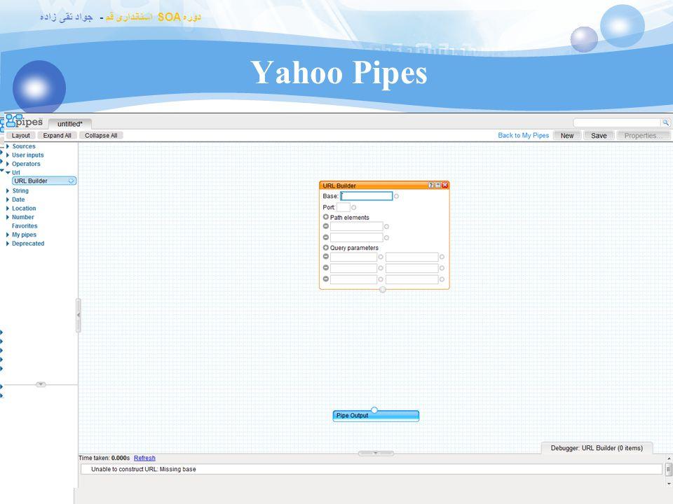 دوره SOA استانداری قم - جواد تقی زاده Yahoo Pipes  http://pipes.yahoo.com/pipes/ http://pipes.yahoo.com/pipes/  Data mashup