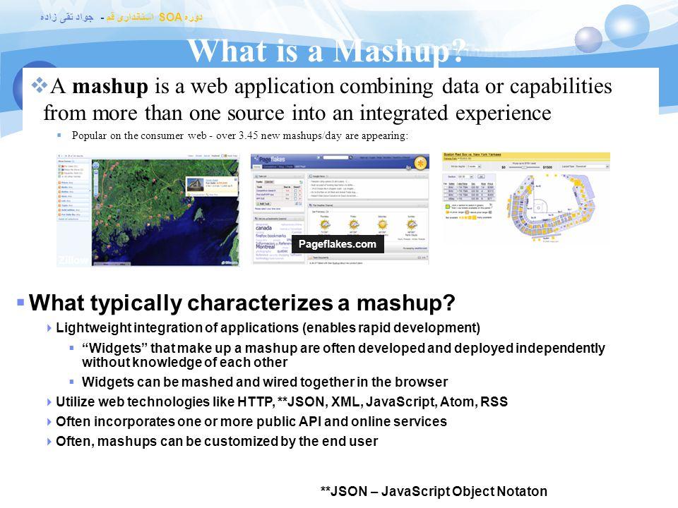 دوره SOA استانداری قم - جواد تقی زاده علت گسترش mashup ها  علت گسترش mashup ها در وب به دو علت برمیگرده :  با این کار داده های زیادی از منابع مختلف در دسترس قرار میگیره  دلیل دیگه اش توسعه یک سری ابزارهایی است که این امکان رو میدن که هر کسی با هر سطح از دانش فنی بتونه از mashup استفاده کنه