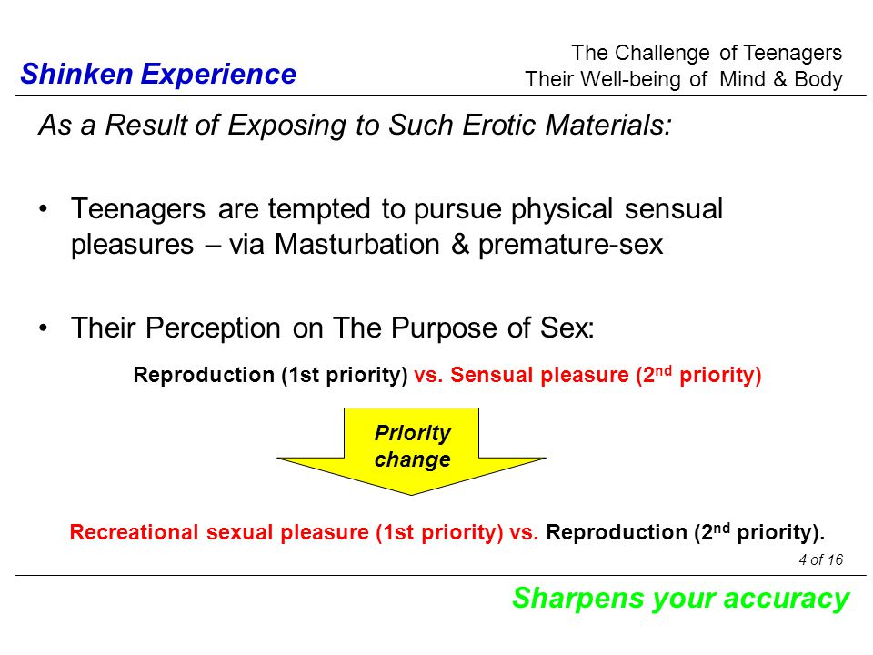 As a Result of Exposing to Such Erotic Materials: Teenagers are tempted to pursue physical sensual pleasures – via Masturbation & premature-sex Their Perception on The Purpose of Sex: The Challenge of Teenagers Their Well-being of Mind & Body Shinken Experience Sharpens your accuracy Reproduction (1st priority) vs.