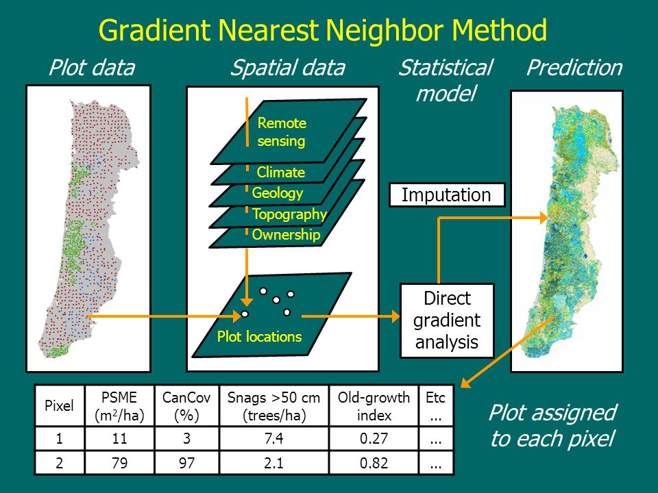 Gradient Nearest Neighbor Method Plot data Climate Geology Topography Ownership Remote sensing PredictionSpatial data Plot locations Direct gradient a