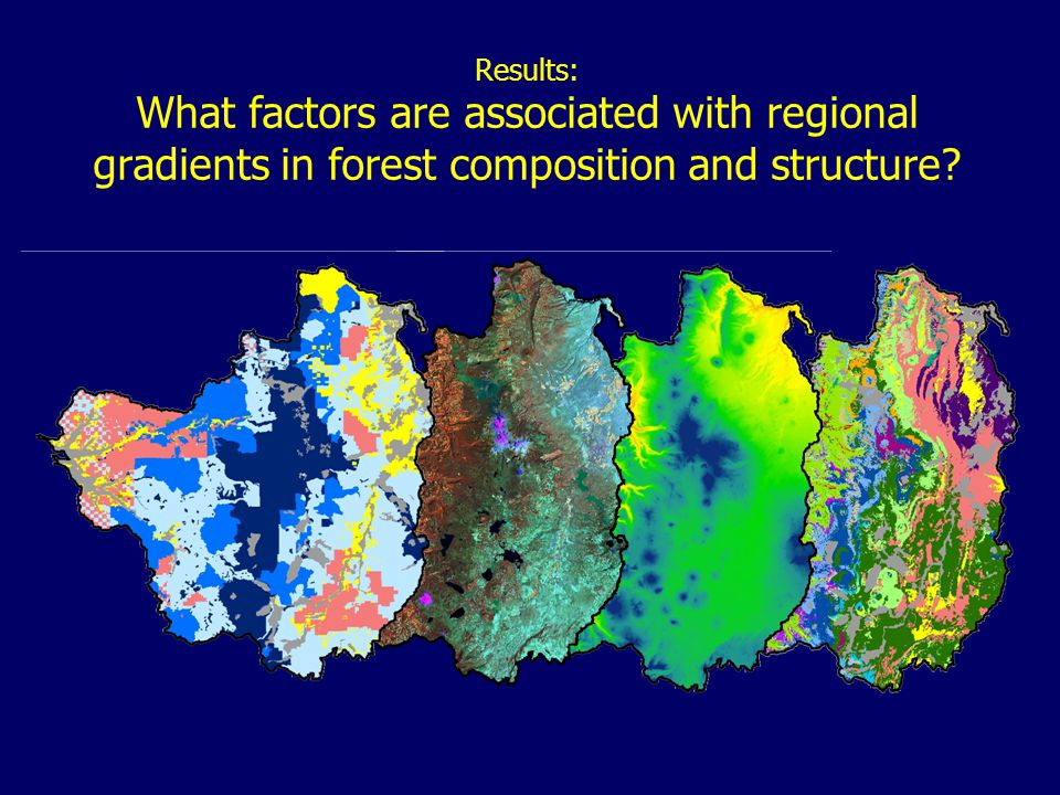 Results: What factors are associated with regional gradients in forest composition and structure