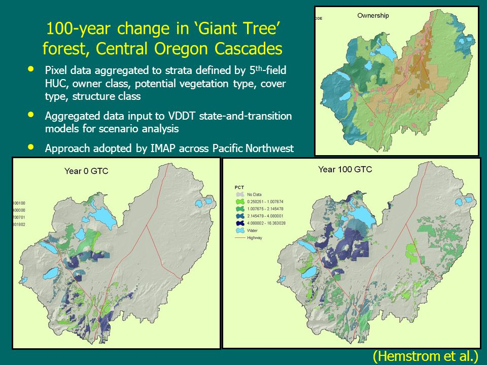 100-year change in 'Giant Tree' forest, Central Oregon Cascades Pixel data aggregated to strata defined by 5 th -field HUC, owner class, potential veg