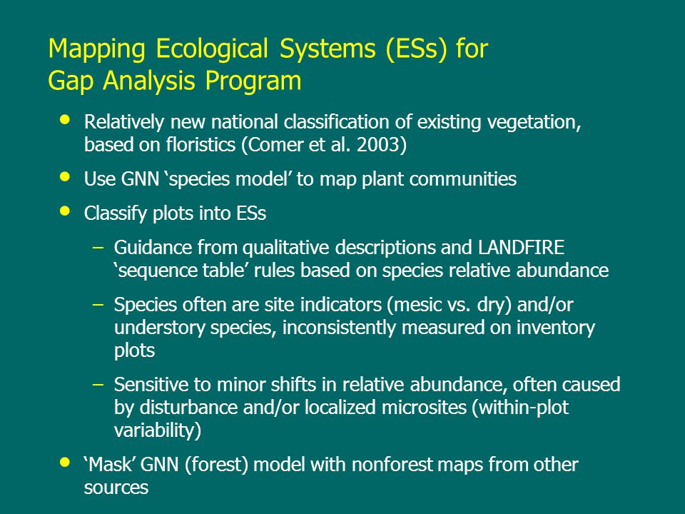 Mapping Ecological Systems (ESs) for Gap Analysis Program Relatively new national classification of existing vegetation, based on floristics (Comer et