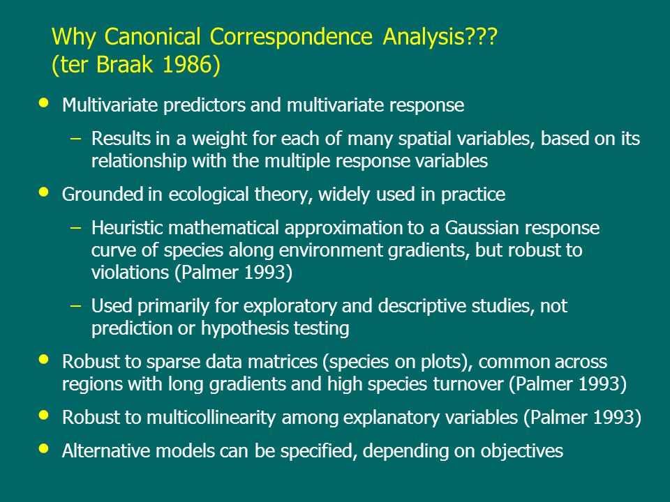 Why Canonical Correspondence Analysis .