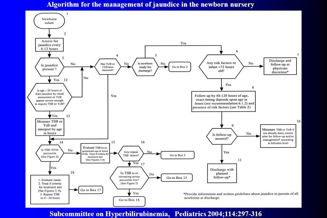 Subcommittee on Hyperbilirubinemia, Pediatrics 2004;114:297-316 Algorithm for the management of jaundice in the newborn nursery
