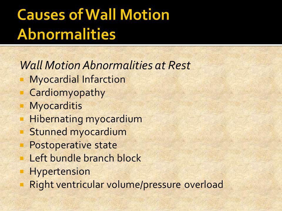 Wall Motion Abnormalities at Rest  Myocardial Infarction  Cardiomyopathy  Myocarditis  Hibernating myocardium  Stunned myocardium  Postoperative
