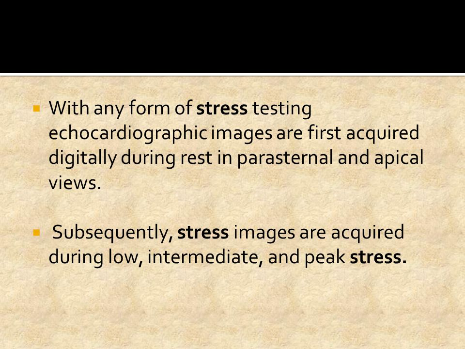  Rest and stress images are interpreted for global and regional left ventricular (LV) size, shape, and function.