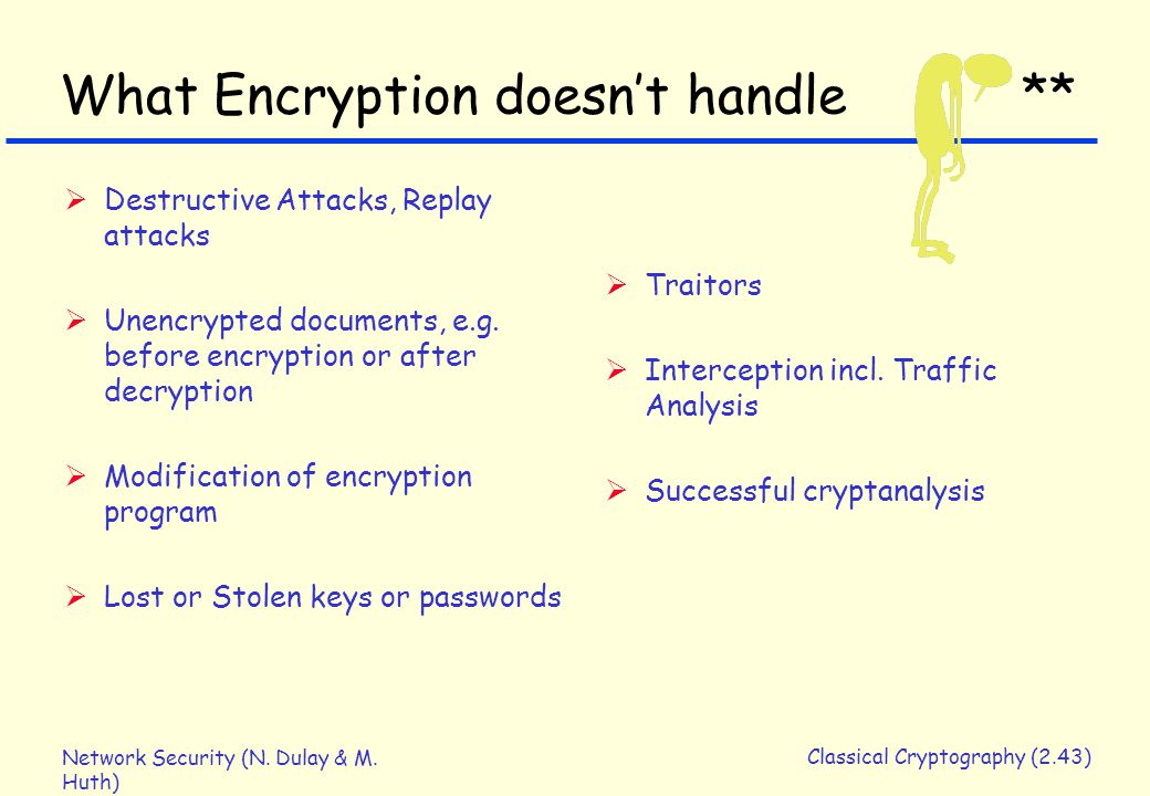 Network Security (N. Dulay & M. Huth) Classical Cryptography (2.43) What Encryption doesn't handle **  Destructive Attacks, Replay attacks  Unencryp