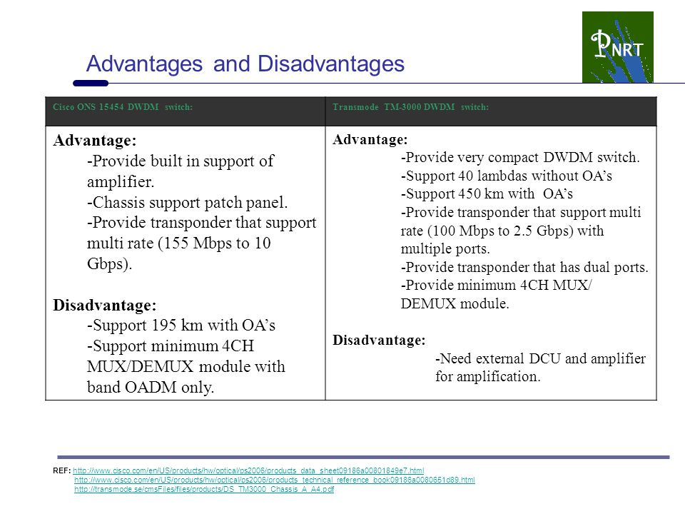 Advantages and Disadvantages Cisco ONS 15454 DWDM switch:Transmode TM-3000 DWDM switch: Advantage: -Provide built in support of amplifier. -Chassis su