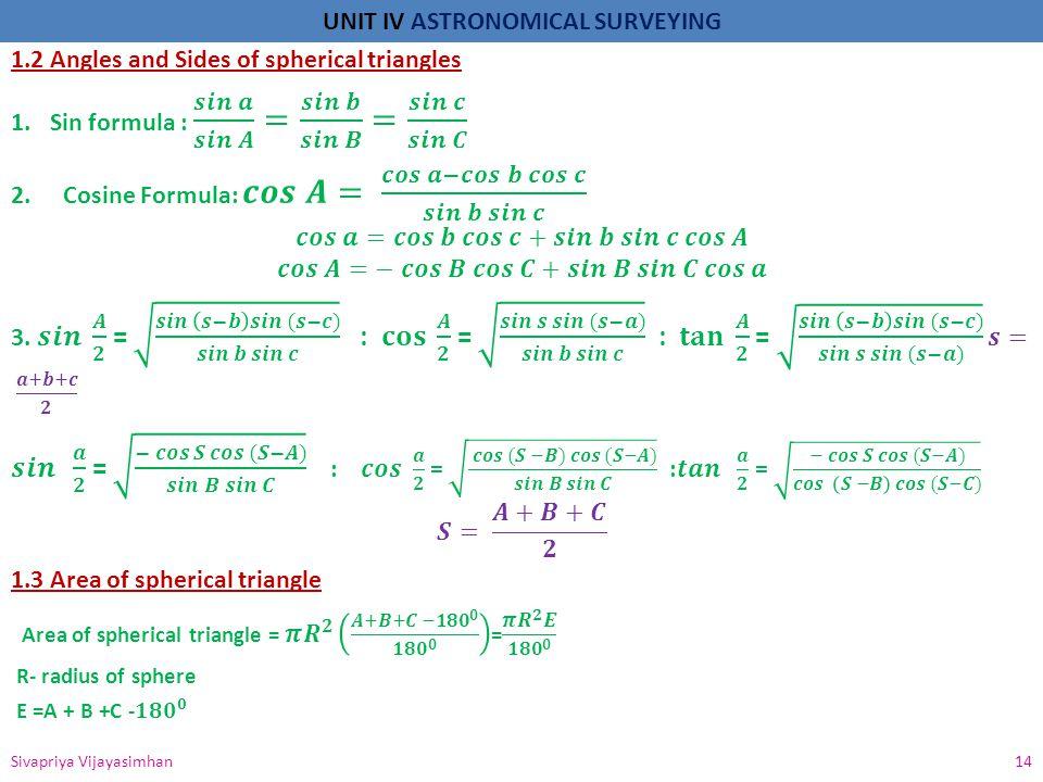 UNIT IV ASTRONOMICAL SURVEYING Sivapriya Vijayasimhan 14