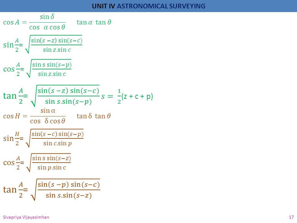 UNIT IV ASTRONOMICAL SURVEYING Sivapriya Vijayasimhan 17