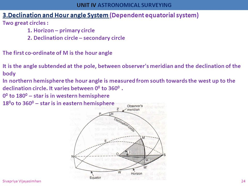UNIT IV ASTRONOMICAL SURVEYING Sivapriya Vijayasimhan 24 3.Declination and Hour angle System (Dependent equatorial system) Two great circles : 1. Hori