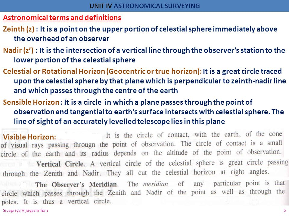 UNIT IV ASTRONOMICAL SURVEYING Astronomical terms and definitions Zeinth (z) : It is a point on the upper portion of celestial sphere immediately abov