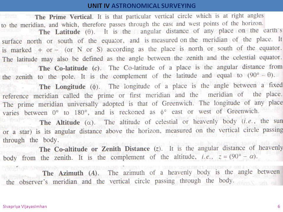 UNIT IV ASTRONOMICAL SURVEYING Sivapriya Vijayasimhan 6