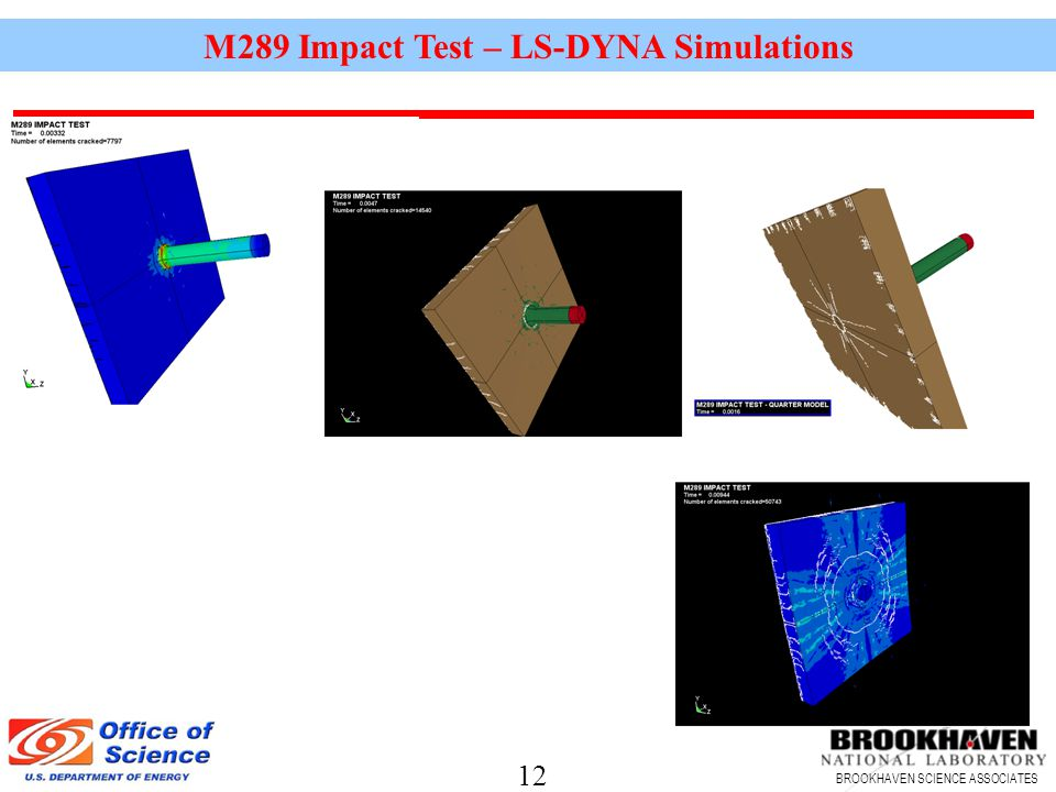 12 BROOKHAVEN SCIENCE ASSOCIATES M289 Impact Test – LS-DYNA Simulations