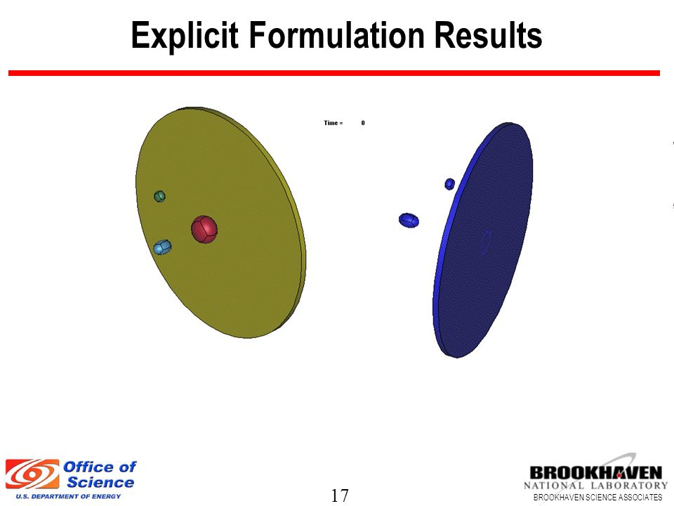 17 BROOKHAVEN SCIENCE ASSOCIATES Explicit Formulation Results