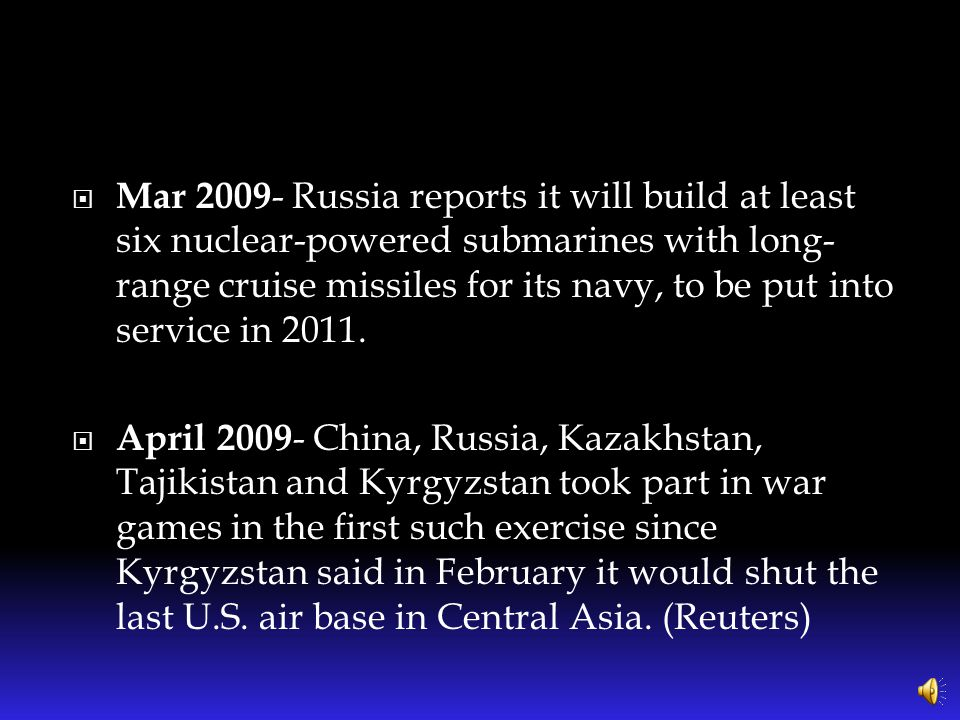 """ Russia, over the last 8 years…has announced it is re-arming for """"defensive"""" purposes, substantially increasing its military, announcing new sophisti"""
