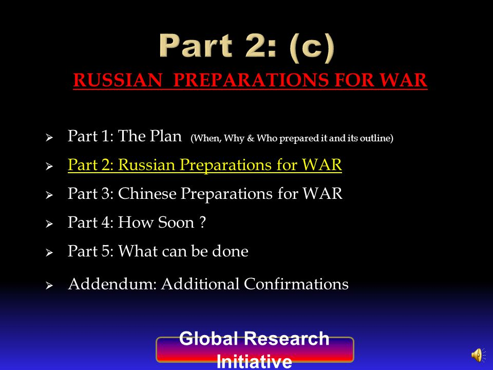 A GRI SPECIAL REPORT An Analysis of Global Current & Future Events Part 2 of a 5 part series: Global Research Initiative