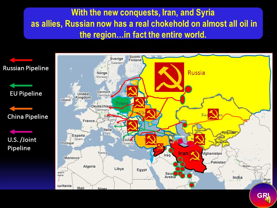 Copyright 2008 Roger K. Young--All Rights Reserved The NEW SOVIET EMPIRE Future Russian Allies/Conquests EU Pipeline Russian Pipeline China Pipeline R