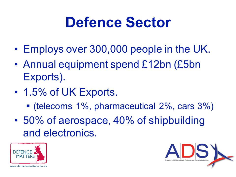 Defence Sector Employs over 300,000 people in the UK.