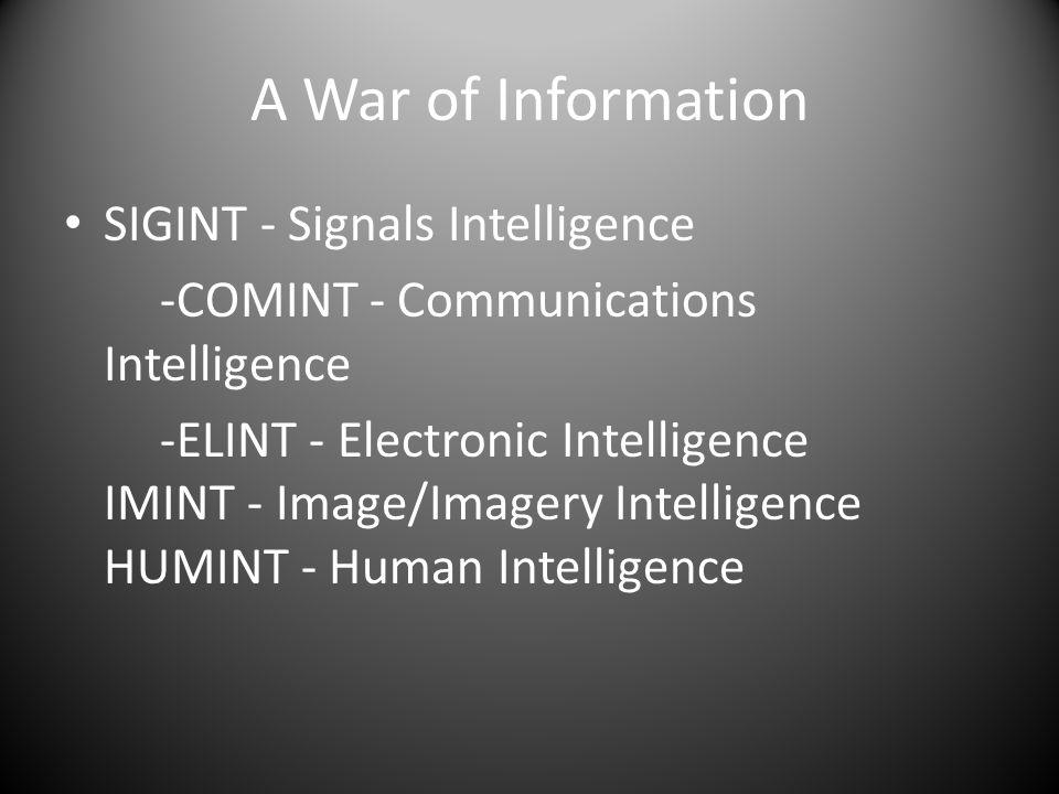 A War of Information SIGINT - Signals Intelligence -COMINT - Communications Intelligence -ELINT - Electronic Intelligence IMINT - Image/Imagery Intelligence HUMINT - Human Intelligence