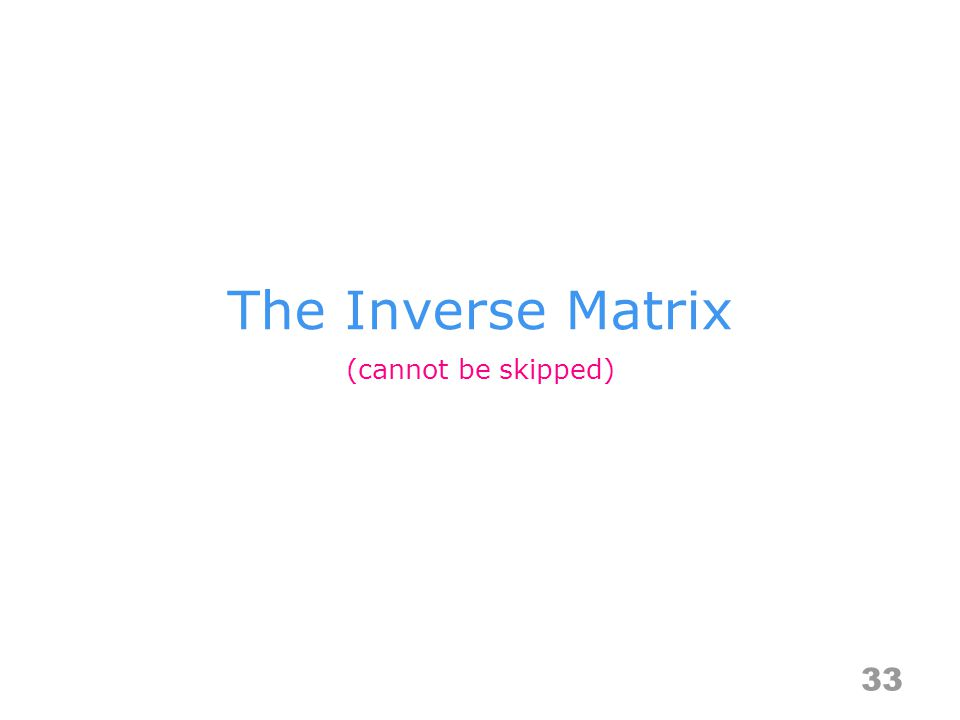 The Inverse Matrix 33 (cannot be skipped)
