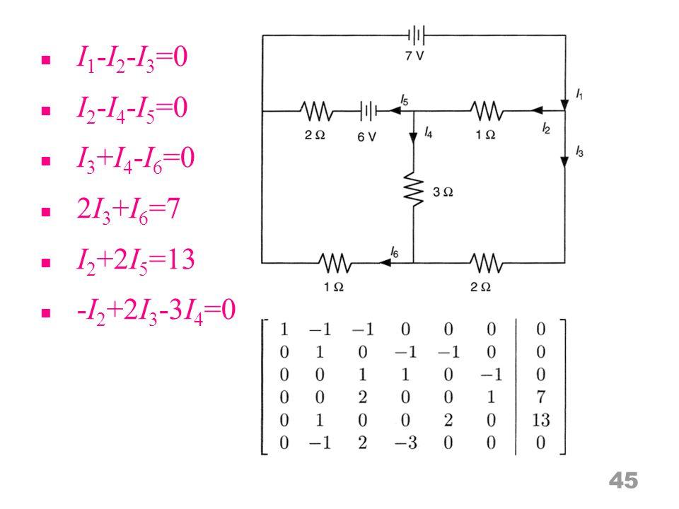 I 1 -I 2 -I 3 =0 I 2 -I 4 -I 5 =0 I 3 +I 4 -I 6 =0 2I 3 +I 6 =7 I 2 +2I 5 =13 -I 2 +2I 3 -3I 4 =0 45