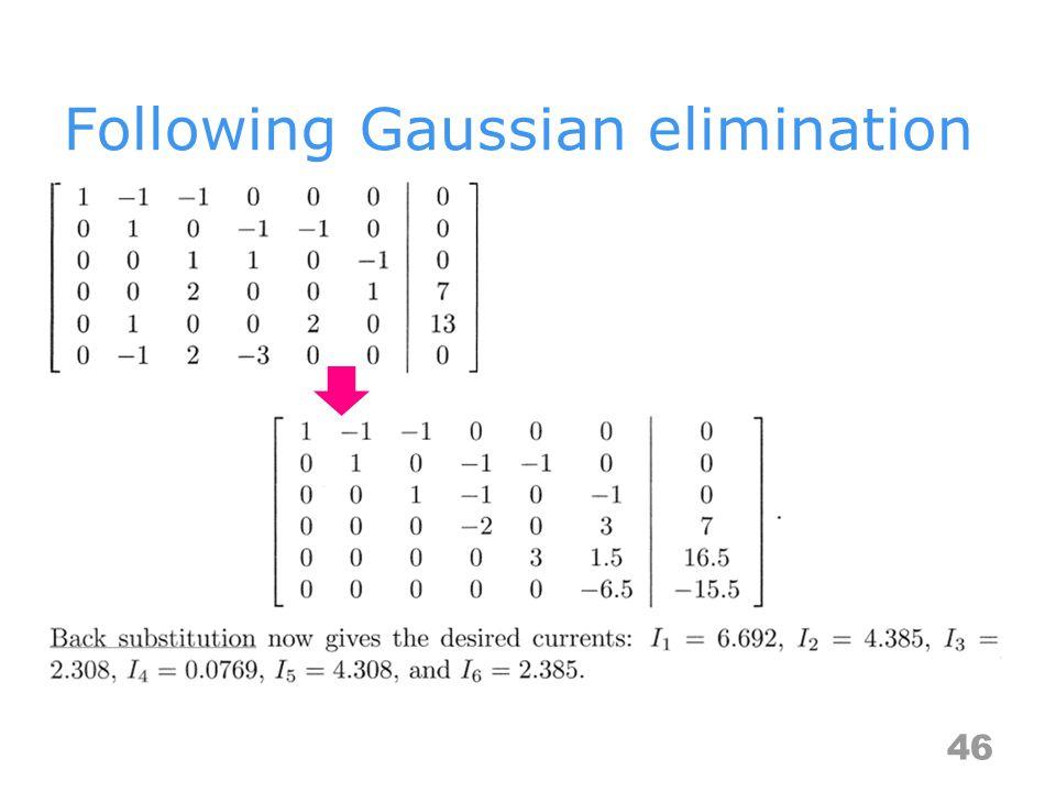 Following Gaussian elimination 46