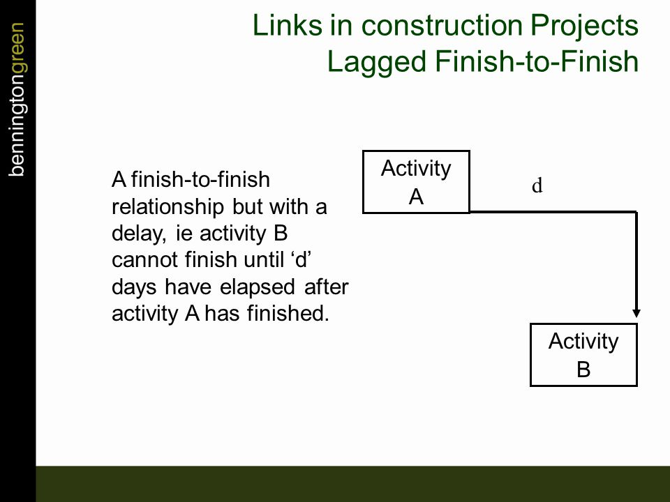 A finish-to-finish relationship but with a delay, ie activity B cannot finish until 'd' days have elapsed after activity A has finished.