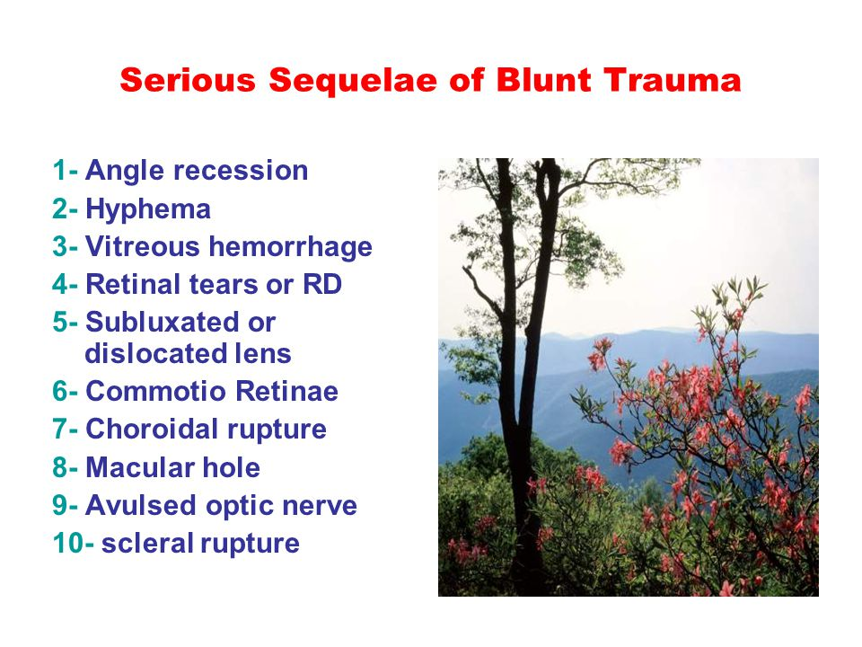 Serious Sequelae of Blunt Trauma 1- Angle recession 2- Hyphema 3- Vitreous hemorrhage 4- Retinal tears or RD 5- Subluxated or dislocated lens 6- Commo
