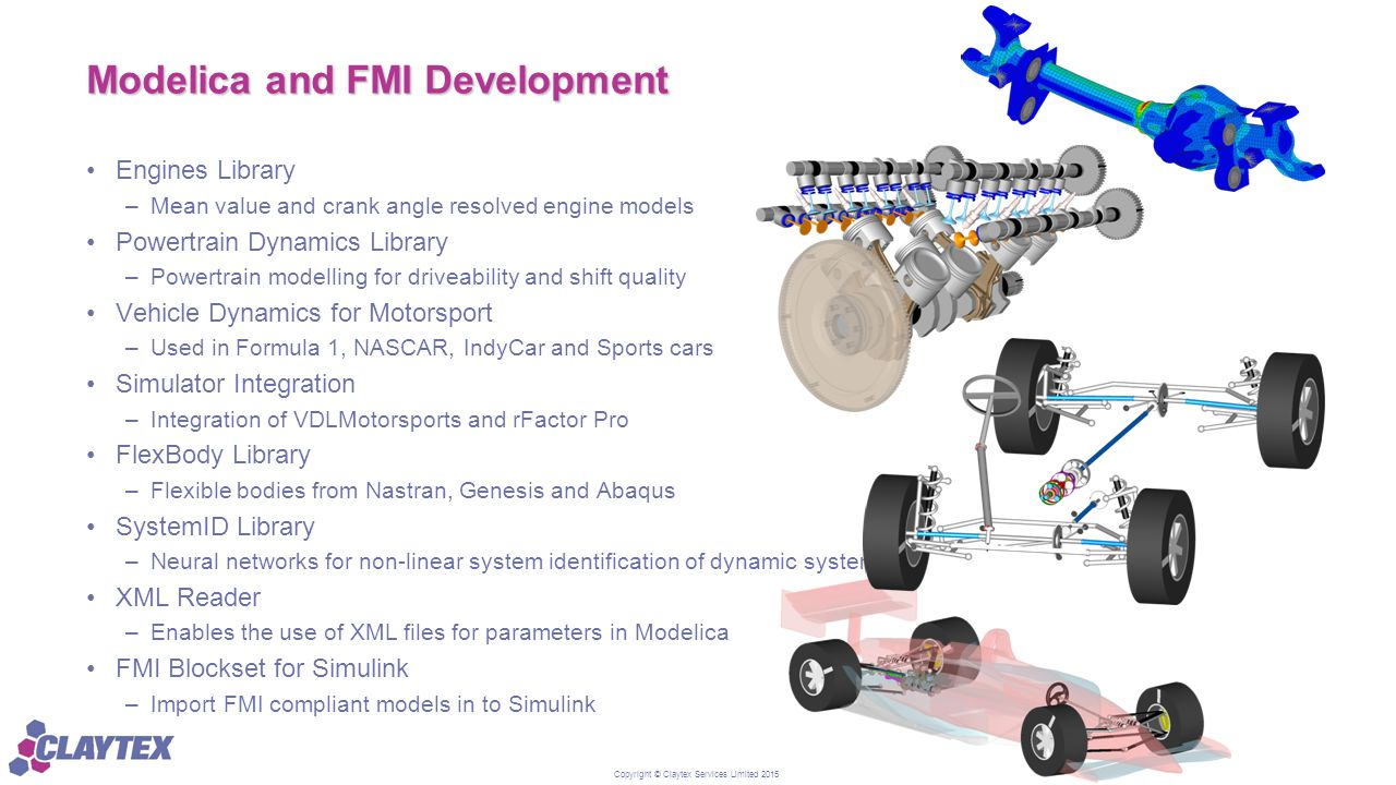 Copyright © Claytex Services Limited 2015 Modelica and FMI Development Engines Library –Mean value and crank angle resolved engine models Powertrain D