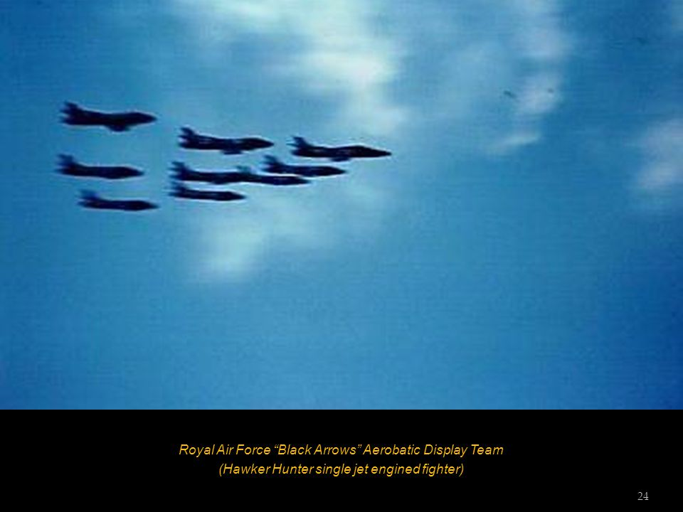 "Royal Air Force ""Black Arrows"" Aerobatic Display Team (Hawker Hunter single jet engined fighter) 23"