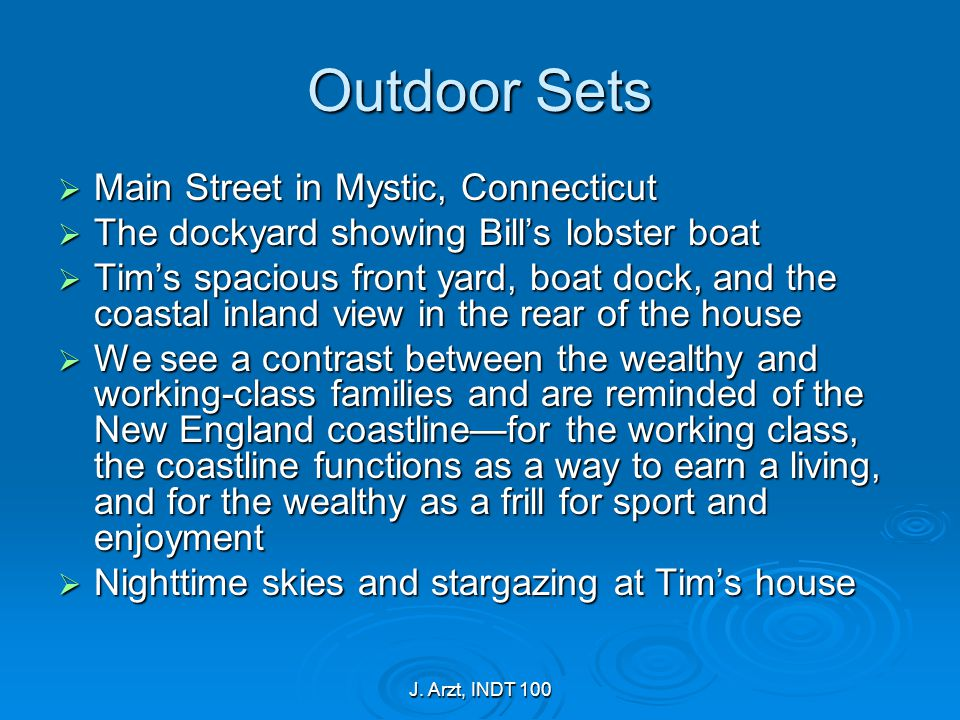 J. Arzt, INDT 100 Outdoor Sets  Main Street in Mystic, Connecticut  The dockyard showing Bill's lobster boat  Tim's spacious front yard, boat dock,