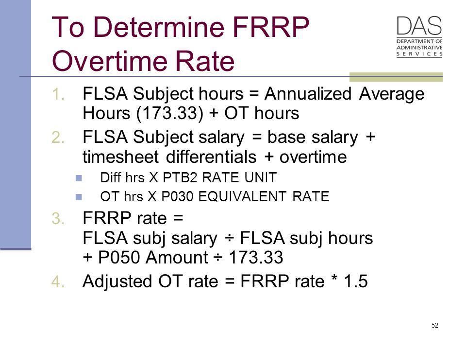 52 To Determine FRRP Overtime Rate 1. FLSA Subject hours = Annualized Average Hours (173.33) + OT hours 2. FLSA Subject salary = base salary + timeshe