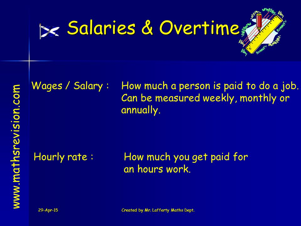 29-Apr-15Created by Mr. Lafferty Maths Dept. Wages / Salary :How much a person is paid to do a job. Can be measured weekly, monthly or annually. www.m