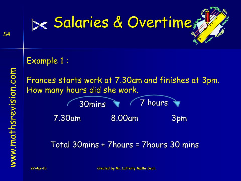 29-Apr-15Created by Mr. Lafferty Maths Dept. S4 www.mathsrevision.com Example 1 : Frances starts work at 7.30am and finishes at 3pm. How many hours di