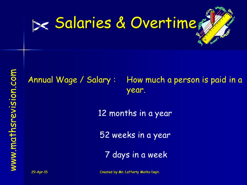 29-Apr-15Created by Mr. Lafferty Maths Dept. Annual Wage / Salary :How much a person is paid in a year. www.mathsrevision.com Salaries & Overtime 12 m