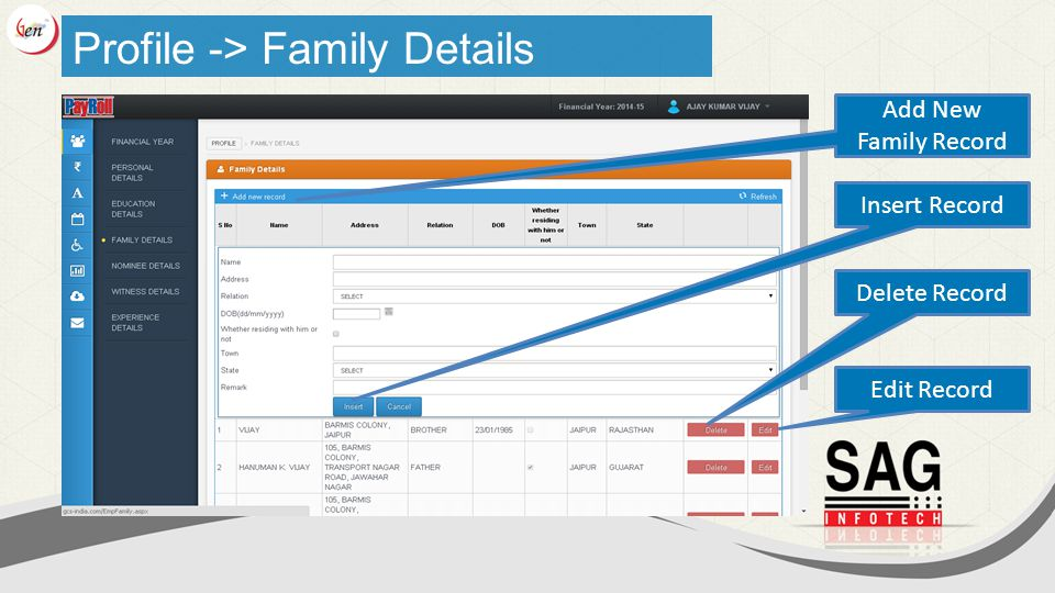 Add New Family Record Delete Record Edit Record Profile -> Family Details Insert Record