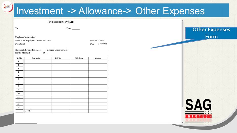 Investment -> Allowance-> Other Expenses Other Expenses Form
