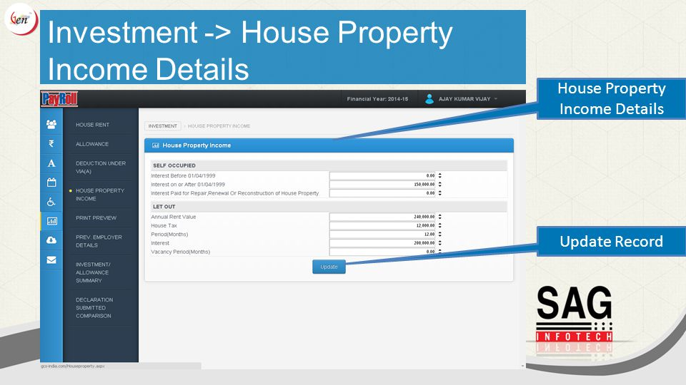 Investment -> House Property Income Details House Property Income Details Update Record