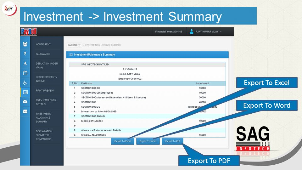 Export To Excel Export To Word Export To PDF Investment -> Investment Summary