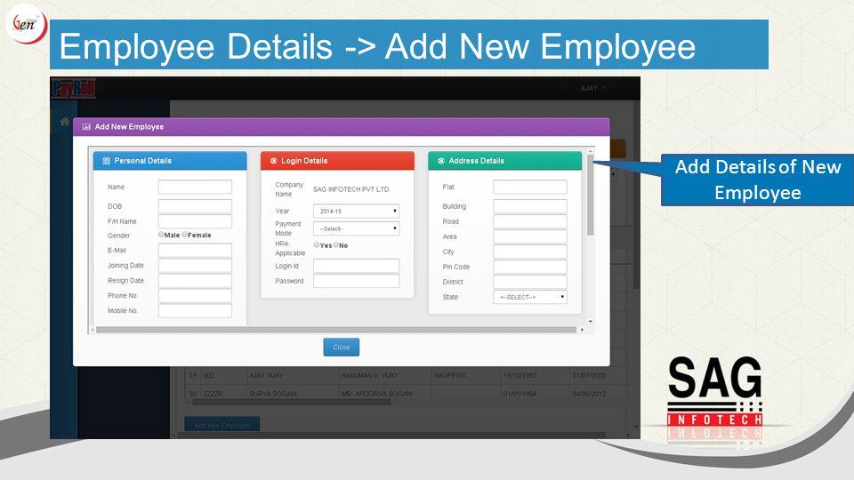 Employee Details -> Add New Employee Add Details of New Employee