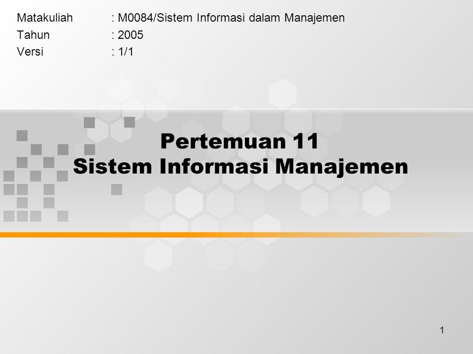 1 Pertemuan 11 Sistem Informasi Manajemen Matakuliah: M0084/Sistem Informasi dalam Manajemen Tahun: 2005 Versi: 1/1