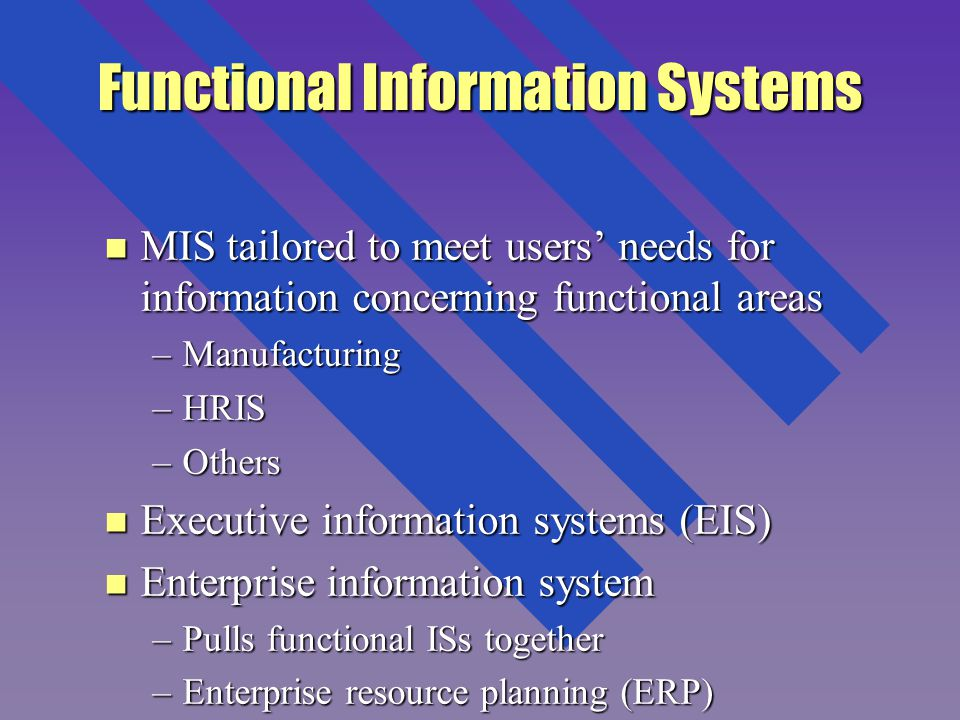 Functional Information Systems n MIS tailored to meet users' needs for information concerning functional areas –Manufacturing –HRIS –Others n Executive information systems (EIS) n Enterprise information system –Pulls functional ISs together –Enterprise resource planning (ERP)