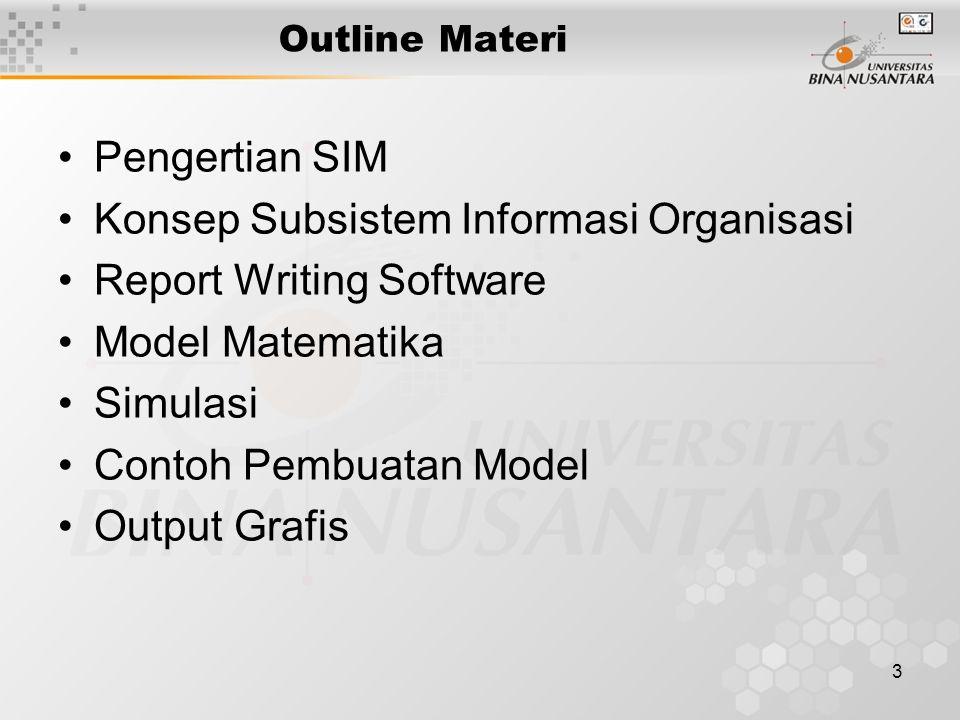 3 Outline Materi Pengertian SIM Konsep Subsistem Informasi Organisasi Report Writing Software Model Matematika Simulasi Contoh Pembuatan Model Output Grafis