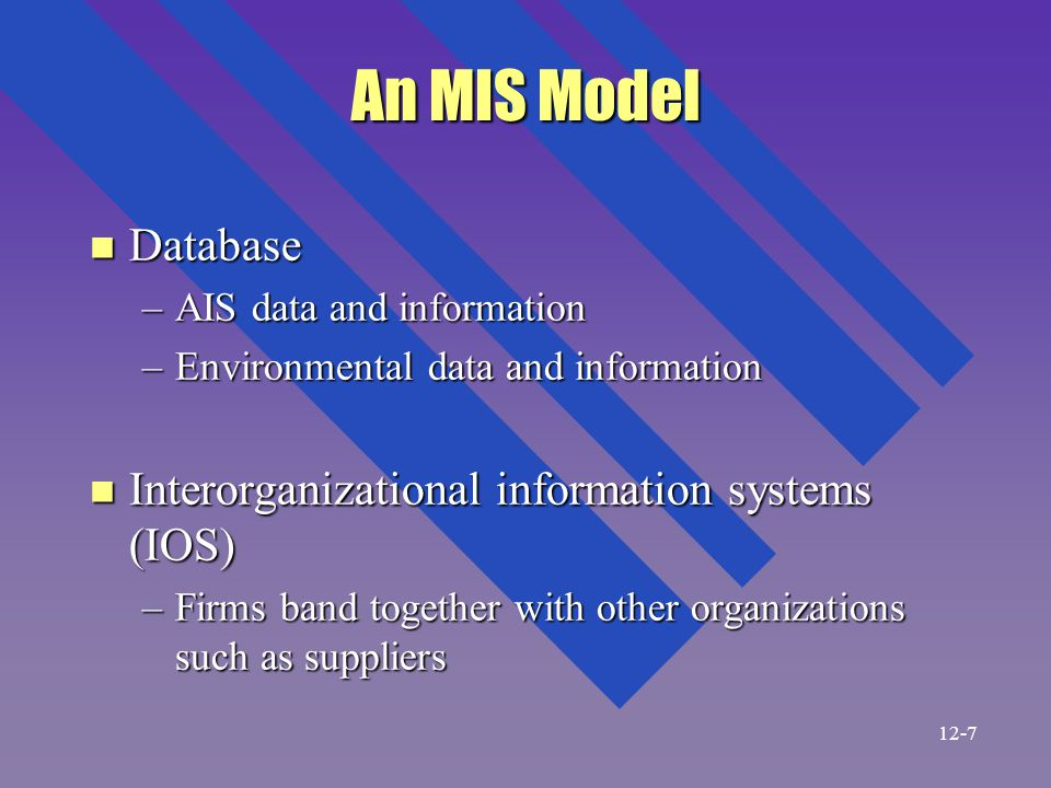 An MIS Model n Database –AIS data and information –Environmental data and information n Interorganizational information systems (IOS) –Firms band together with other organizations such as suppliers 12-7